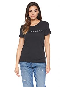 6575fdf6228 Calvin Klein Jeans Core Institutional Logo Slim Fit Tee for Women - Ck Black