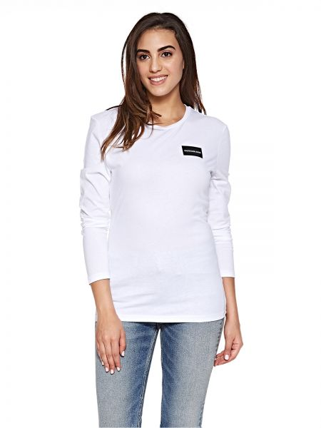 Calvin Klein Jeans Institutional Box Logo Long Sleeve Tee for Women - Bright  White. by Calvin Klein Jeans ... 609845479d
