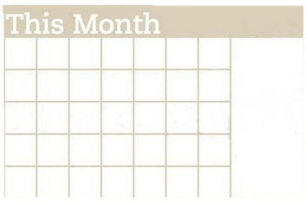 This Month Whiteboard Calendar Sticker Blackboard White Carved Wall