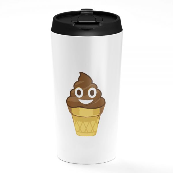 Loud Universe Smily Poop Emoji Ice Cream Cone Funny White Coffee