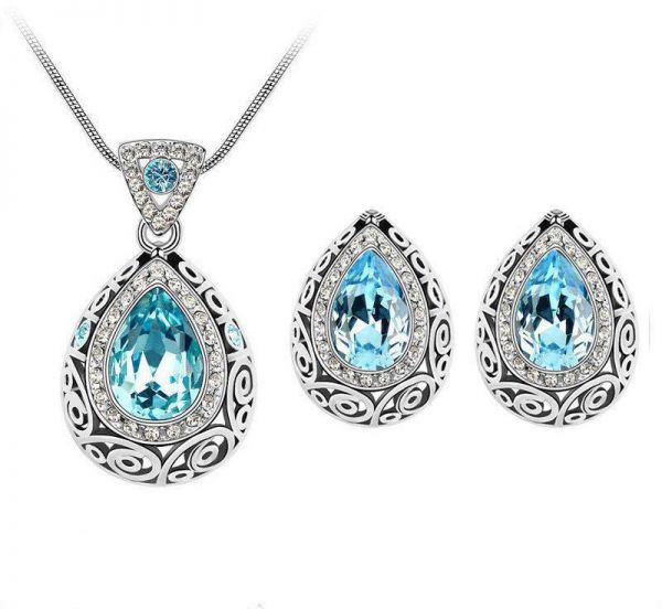 Crystal Pendant Necklace with Earrings Jewelry Set - Ocean Blue