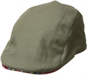 1fcba8badeca3 Kangol Men's Placket Adjustable Ivy Cap with Tartan Lining and Trim, Army  Green, L