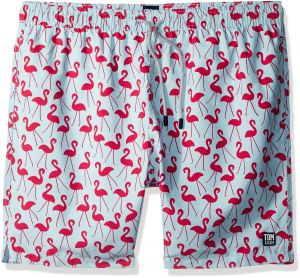 61e0bbf9eef7e Tom & Teddy Men's Elastic Waist Animal Print Swim Trunks, Fuchsia Flamingo,  Small