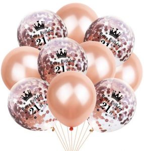 21th Birthday Balloon Decoration Crown Set Romantic Party Package Sequin Rose Gold Latex Bag