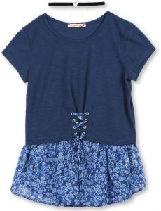 005d9fba8cf7f Speechless Big Girls' Fashion Top with Lace up Detail and Chiffon Hangdown,  Navy Blue, Large
