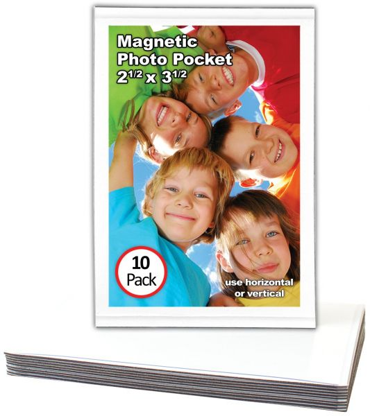 Magtech Magnetic Photo Pocket Picture Frame White Holds 25 X 35