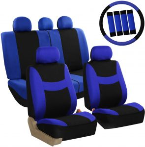 Fantastic Fh Group Fb030Blueblack Combo Seat Cover Combo Set With Steering Wheel Cover And Seat Belt Pad Airbag Compatible And Split Bench Blue Black Lamtechconsult Wood Chair Design Ideas Lamtechconsultcom