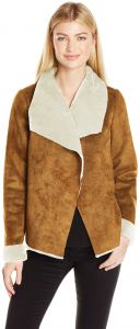 6bb7860a63 VERO MODA Women's Janice Short Faux Suede Jacket with Shearling Drapey  Collar, Cognac, Small