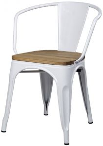 Peachy Gia Metal Dining Chairs With Back 1 Pack Wooden Seat Machost Co Dining Chair Design Ideas Machostcouk