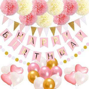 45PCS Set Birthday Decorations Party SuppliesHappy Banner15 Triangle Bunting Flags9 Pom Poms Flowers17 Balloons1 Pink And Gold Dot