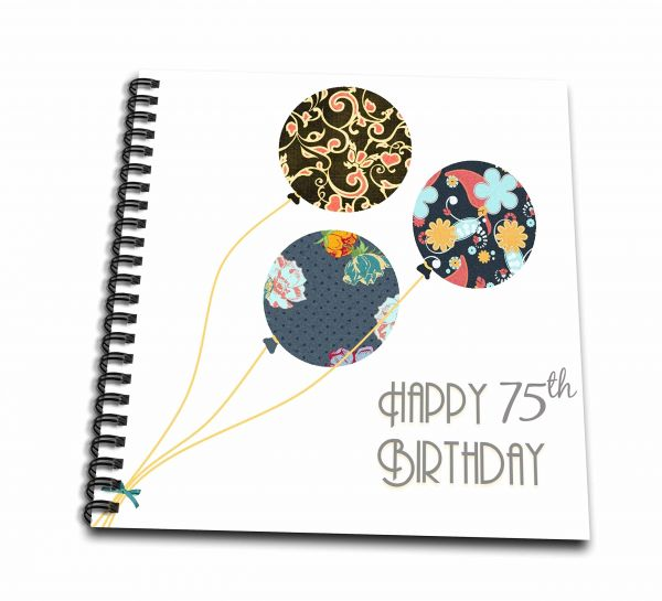3dRose Happy 75th Birthday Modern Stylish Floral Balloons Elegant Black Brown Blue 75 Year Old Bday Memory Book 12 By Db 162016 2
