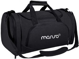 MOSISO Polyester Fabric Foldable Gym Bag Sports Travel Overnight Duffels  Lightweight Athletic Sport Camping Shoulder Bag, Black 1c620f6ff6