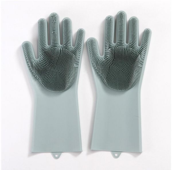 Upgraded Magic Reusable Silicone gloves with Wash Scrubber Heat Resistant for Cleaning