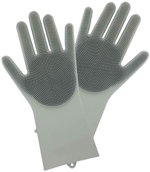 The kitchen washing gloves Hand cleaning Gloves for Wash Dishes or Cloths household waterproof latex gloves PVC gloves-Grey | السعودية | سوق