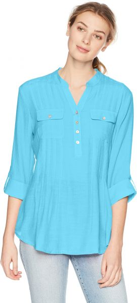 4a420973a243b Ruby Rd. Women s Silky Gauze Pleated Top with Button-Front Stand ...