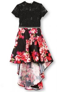 31a4a8115 Speechless Big Girls' 7-16 Tween Lace to Woven Party Dress, Black Coral, 8