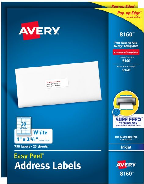 Avery Address Labels With Sure Feed For Inkjet Printers 1 X 2 58
