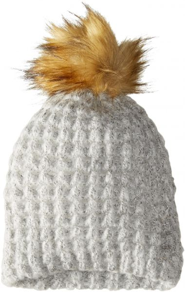 check out 3553a 44398 ... cheap la fiorentina womens chunky knit hat with faux fur pom light grey  one size 201a0