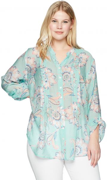6491f6bd7f0 Ruby Rd.. Women s Plus Size Printed Light Weight Gauze Button-Front ...