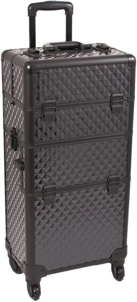 ... Makeup Train Case 2 in 1 Professional Artist I3661, 8 Trays and 1 Removable Tray, 4 Wheel Spinner, Locking with Mirror and Shoulder Strap, Black Diamond