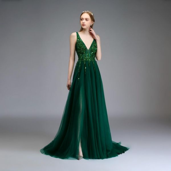 e8779bb9e689 SSYFashion Women s Evening Dress Luxury V-neck Sleeveless Sequins Beading  Wedding Prom Formal Gown Dark Green US 10