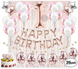 1st Birthday Decorations Firsts Party Supplies One Cake Topper Rose Gold Banner Confetti Balloons For Her Curtain Backdrop