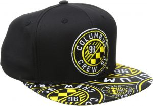 4e4c170b1d3 adidas MLS Columbus Crew Adult Men MLS SP17 Fan Wear Script Logo Flat Brim  Snapback