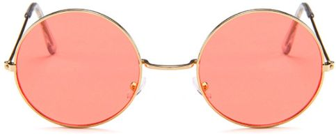 92e6be8d8e4 WoMen Ocean Color Lens Mirror Sunglasses Female Metal Frame Circle Vintage  Round Sunglasses Oculos UV400 Light Red. by Other