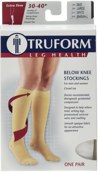 733ed7ac74 Truform 30-40 mmHg Knee High, Closed Toe Compression Stockings White,  Large. by Truform, Health and Personal Care - 255 ratings
