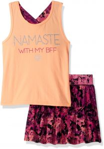 4c8b4a5b2d018 Gaiam Big Girls  Namaste with My BFF Tank Top and Skort Set