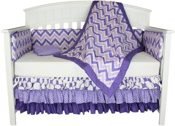Purple Dots And Chevron 8 In 1 100 Cotton Baby Bedding With Bumper By Bacati