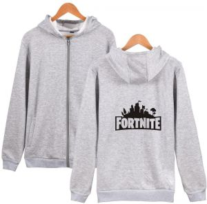 Game Fortress Night fortite winter clothing fleece zipper hooded men and women couple outdoor sweater grey
