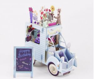 3D Pop Up Colourful Flower Car Greeting Card Birthday Hollow Carved Handmade Gifts