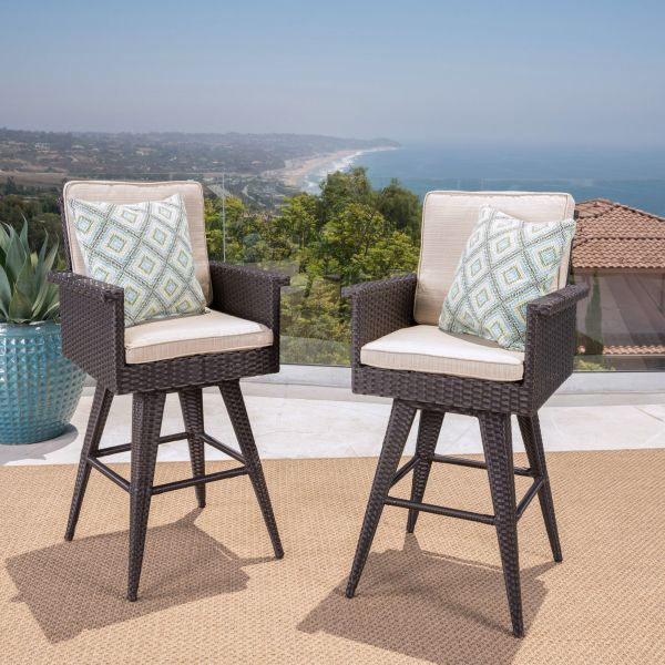 Cassie Outdoor Grey Wicker Dining Chairs with Light Grey Water Resistant Cushions Set of 4