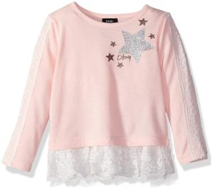 2fc790ddd DKNY Girls' Toddler Long Sleeve Lace Insert Top, English Rose, 2T