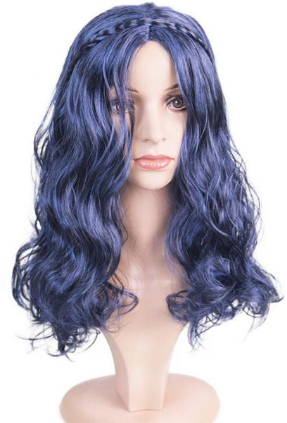 Women s Mal Wig Long Blue Wave Cosplay Costumes Wigs for Descendants ... f8a7f42a4