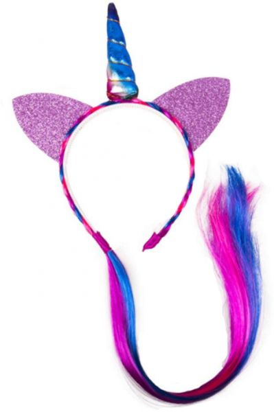 Unicorn Pony Ears Soft Headband with Pony Tail Wig Kids Unicorn Party Favor  Pony Hairbands Birthday Party Favors  db8c882dff8