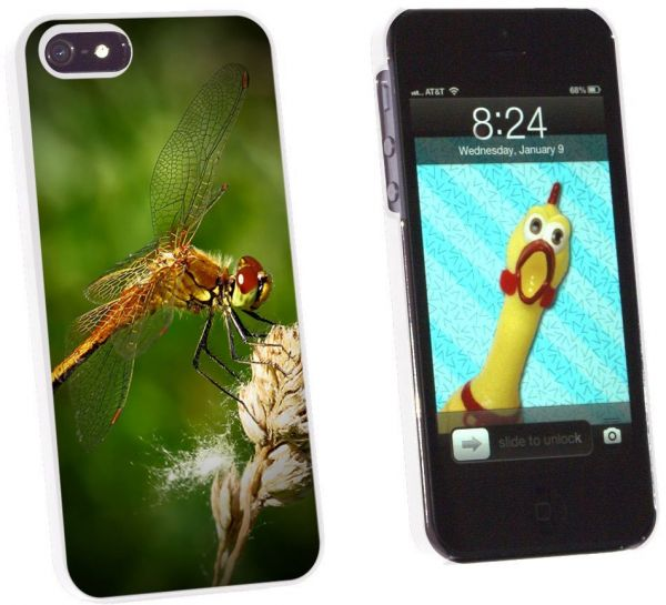 Graphics and More Dragonfly - Red Green Snap-On Hard Protective Case for  Apple iPhone 5/5s - Non-Retail Packaging - White