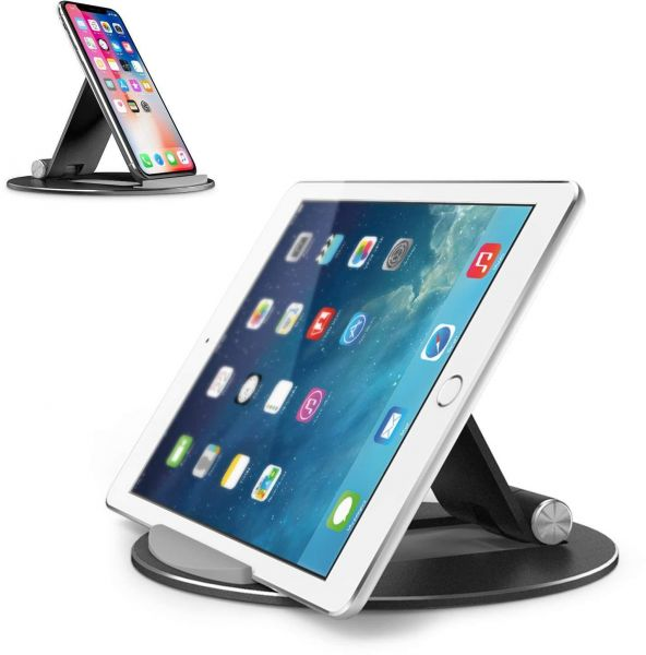 Adjustable Tablet Stand, OMOTON Aluminum Desktop Tablet Cellphone Stand with Anti-Slip Base, Portable Stand Holder for iPad tablet, Samsung Tab, E-reader and Cellphones, Black