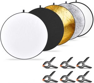 090be70298a6 COOPIC 5-in-1 Collapsible Multi-Disc Light Reflector 43 inches 110  centimeters and 6-Pack Muslin Backdrop Spring Clamps