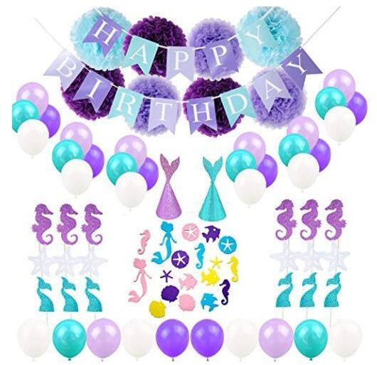 Mermaid Balloons Party Supplies65 Pack Happy Birthday Banner Confetti And Hats Paper Flower Decorations
