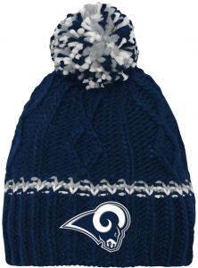 9f777b5aec9 NFL by Outerstuff NFL Girls 7-16 Cable Knit Rib Cuffless Hat-Dark Navy-1  Size