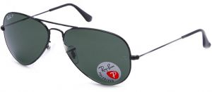 1171111d171 Ray-Ban AVIATOR LARGE METAL - BLACK Frame CRYSTAL GREEN POLARIZED Lenses  62mm Polarized