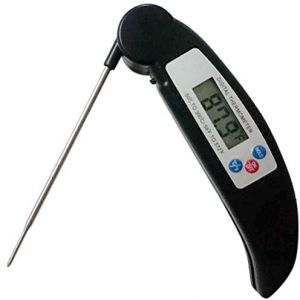 Digital Meat Thermometers Instant Read Thermometer Cooking Thermometer HS Waterproof Food Thermometer With LCD Display and Foldable Probe For BBQ, Kitchen, ...