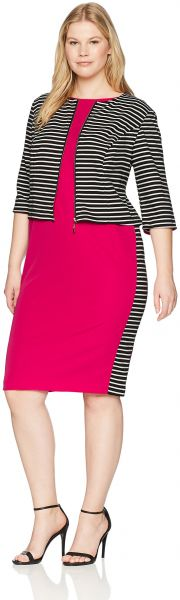 cbda1b3d27d Maya Brooke Women s Plus Size Striped Colorblock Jacket Dress