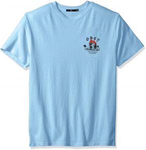 new style e5f89 886c2 Obey Men s The World is Yours Dyed Short Sleeve T-Shirt, Dusty Blue, M