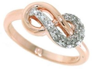 2e01f036f8 Sterling Silver and 14k Rose Gold Plated Diamond Infinity Ring (1/10cttw,  I-J Color, I2-I3 Clarity), Size 6