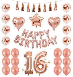40inch Rose Gold 16th Number Balloon 12inch Confetti With Happy Birthday Banner Star Heart Foil Tassel Garland