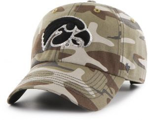 timeless design a3d12 47272  47 NCAA Iowa Hawkeyes Women s Sparkle Camo Clean Up Adjustable Hat, One  Size, Faded Camo