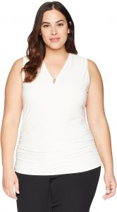 b01c214aa3d Anne Klein Women s Plus Size Sleeveless V-Neck Knit with Side Ruching